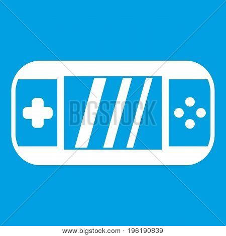 Portable video game console icon white isolated on blue background vector illustration