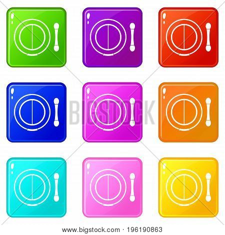 Shadow kit with applicator icons of 9 color set isolated vector illustration