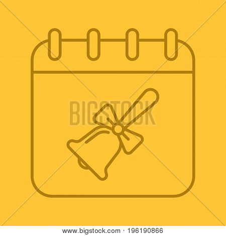 September 1st color linear icon. Calendar page with school bell with ribbon. Thin line outline symbols on color background. Vector illustration