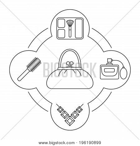 Woman's purse contents linear icons set. Blusher, perfume, necklace, hair brush. Isolated vector illustrations