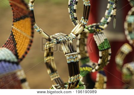 Handmade Colorful traditional Masai jewelry and decorations