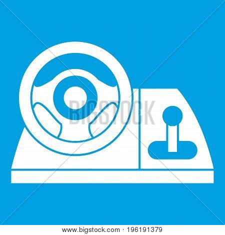 Computer steering wheel icon white isolated on blue background vector illustration