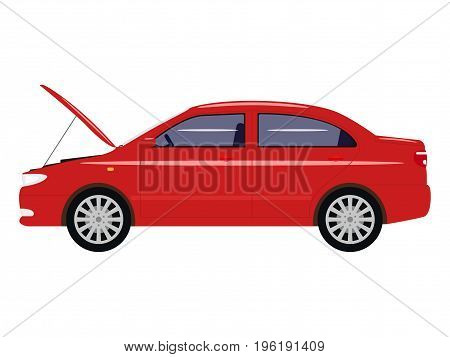 Vector illustration cartoon car with an open hood. Isolated white background. Auto with open bonnet. Flat style. Side view. Red automobile is under repair.