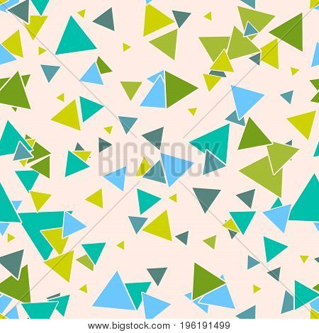 Triangular geometric seamless pattern with colorful green, blue random triangles on pastel beige background. Infinity card. Vector illustration.