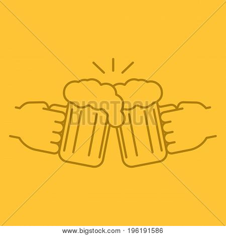 Cheers color linear icon. Hands holding toasting beer glasses. Thin line outline symbols on color background. Vector illustration
