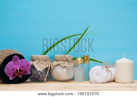 Wooden table with items for taking a salt bath