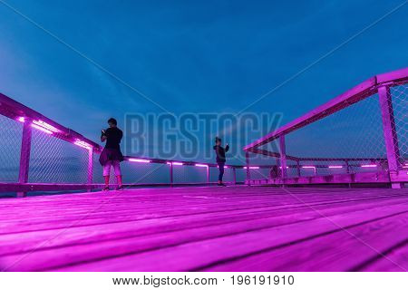 Girl and boy are taking a picture of a cellphone at the top of the observation tower. Treetop Walkway lignting Sightseeing trail in tree crowns. Treetop Walkway in Lipno Czech Republic
