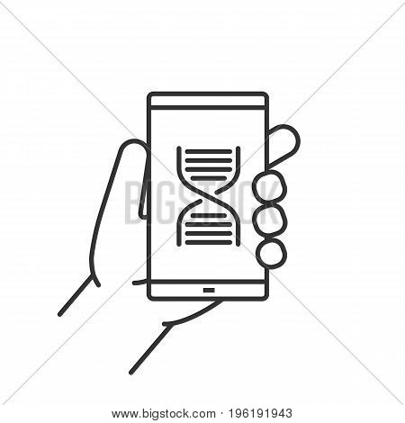 Hand holding smartphone linear icon. Thin line illustration. Smart phone science app contour symbol. Vector isolated outline drawing