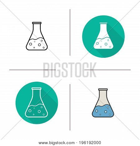Chemical reaction icon. Flat design, linear and color styles. Boiling potion bottle. Isolated vector illustrations