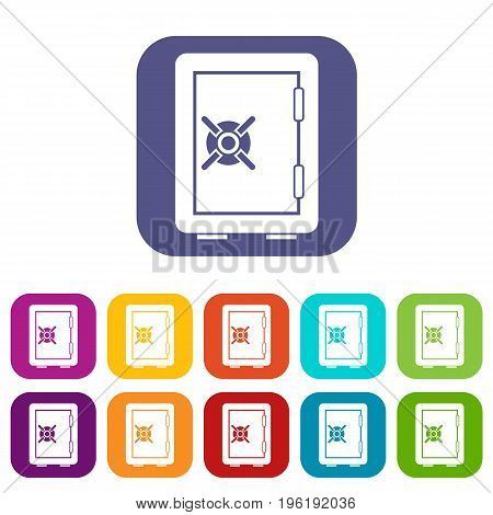 Safety deposit box icons set vector illustration in flat style in colors red, blue, green, and other
