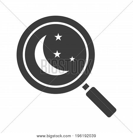 Place to sleep search glyph icon. Silhouette symbol. Magnifying glass with moon and stars. Negative space. Vector isolated illustration