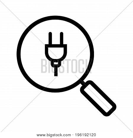 Magnifying glass with plug linear icon. Thin line illustration. Search contour symbol. Vector isolated outline drawing