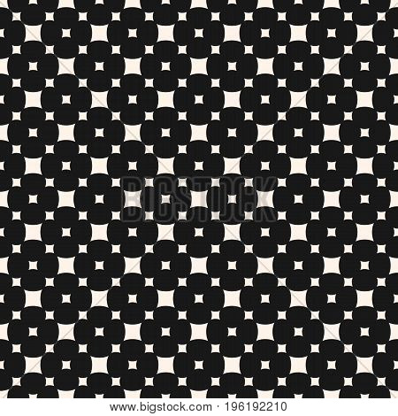 Squares pattern. Vector seamless pattern with smooth rounded squares in staggered grid. Simple monochrome geometric texture. Abstract repeat background. Stylish dark design for decor, textile, covers, digital, web. Geometric pattern.