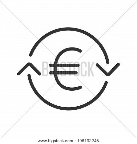 Euro exchange linear icon. Thin line illustration. Refund contour symbol. Vector isolated outline drawing