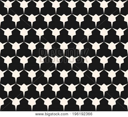 Geometric seamless pattern with edgy triangular shapes. Simple abstract monochrome ornament texture. Modern geometrical repeat background. Dark design for decor, fabric, covers, digital, web.