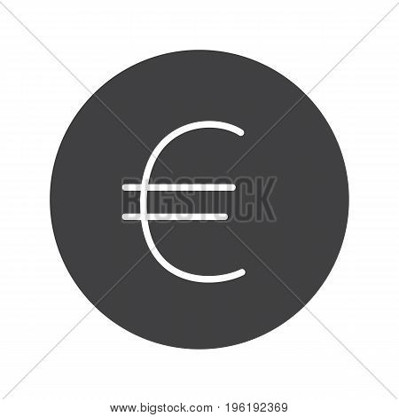 Euro sign glyph icon. Silhouette symbol. European union currency. Negative space. Vector isolated illustration