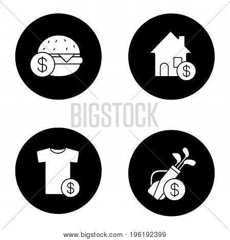 Services glyph icons set. Buy food, sport equipment, clothes, real estate. Vector white silhouettes illustrations in black circles