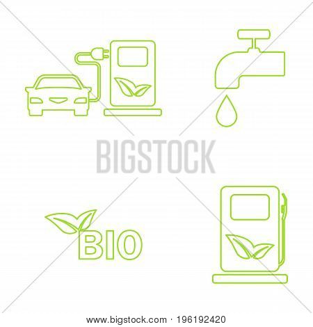 Vector green eco icons set. Recycling and environmental protection.