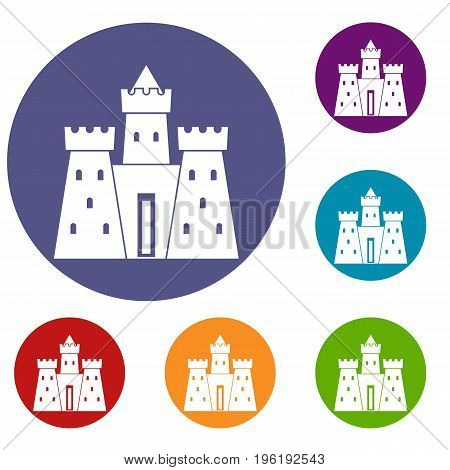 Ancient castle palace icons set in flat circle red, blue and green color for web