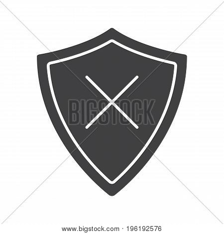 Security glyph icon. Silhouette symbol. Protection shield with cancel cross. Negative space. Vector isolated illustration