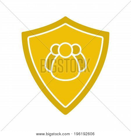 Users protection glyph color icon. Collective security. Protection shield with group of people. Silhouette symbol on white background. Negative space. Vector illustration