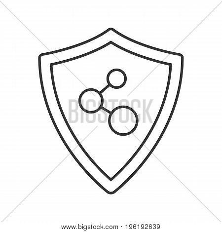 Network connection security linear icon. Thin line illustration. Protection shield contour symbol. Vector isolated outline drawing