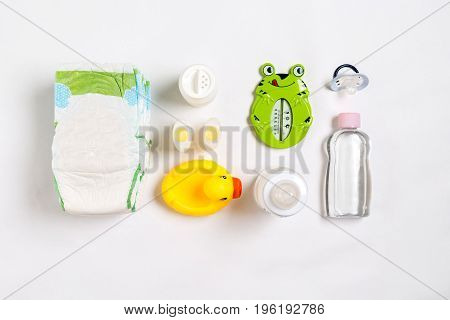 Cosmetics for newborns on a white background. Top view. Copy space. Still life. Flat lay