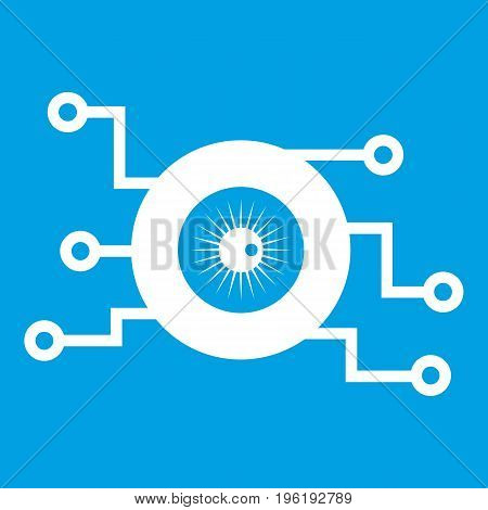 Cyber eye symbol icon white isolated on blue background vector illustration