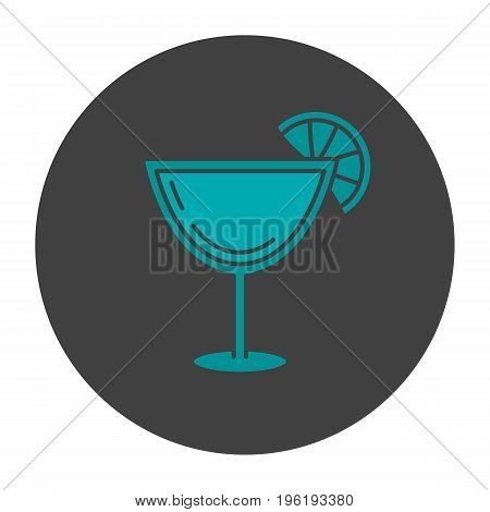 Margarita cocktail glyph color icon. Martini drink. Silhouette symbol on black background. Negative space. Vector illustration