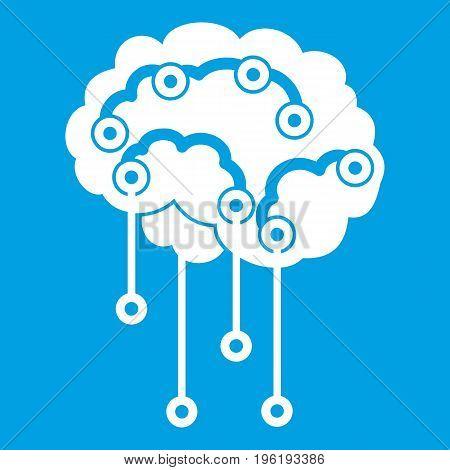 Sensors on human brain icon white isolated on blue background vector illustration