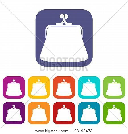 Women wallet icons set vector illustration in flat style in colors red, blue, green, and other