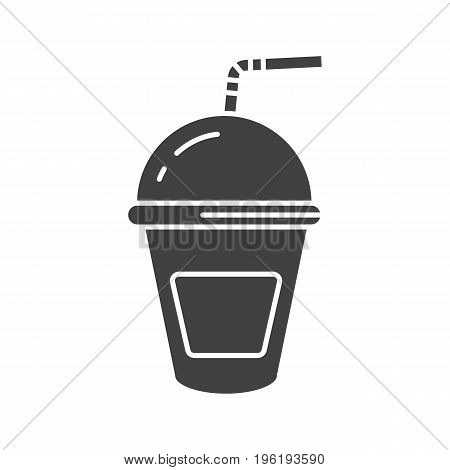 Refreshing soda drink glyph icon. Silhouette symbol. Lemonade paper cup with straw. Negative space. Vector isolated illustration