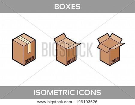 Isometric carton packaging boxes set in flat style with postal signs this side up fragile vector illustration