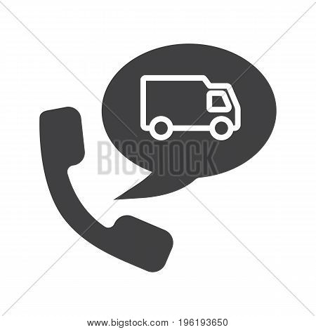 Delivery order by phone glyph icon. Silhouette symbol. Handset with delivery van inside speech bubble. Negative space. Vector isolated illustration