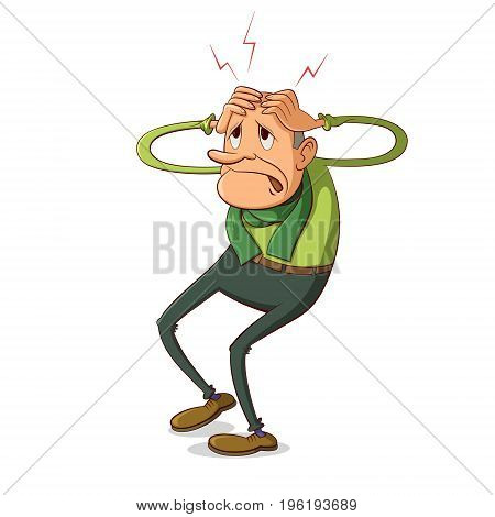 senior man suffering from headache, cartoon illustration