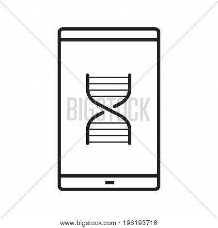 Smartphone science app linear icon. Thin line illustration. Smart phone with DNA chain model contour symbol. Vector isolated outline drawing