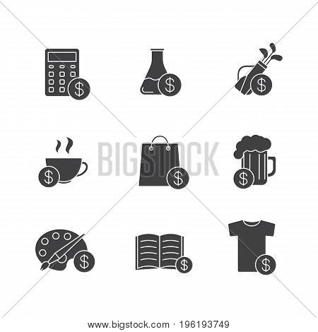 Commercial items glyph icons set. Shopping silhouette symbols. Buy drinks, books, research, clothes, art and sport goods. Vector isolated illustration