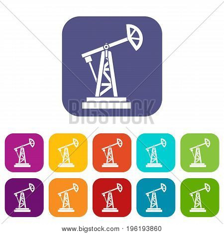 Oil rig icons set vector illustration in flat style in colors red, blue, green, and other