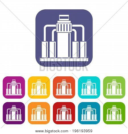 Oil refining icons set vector illustration in flat style in colors red, blue, green, and other
