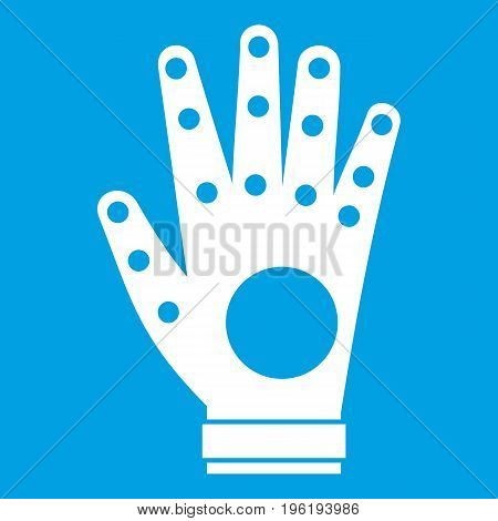 Electronic glove icon white isolated on blue background vector illustration