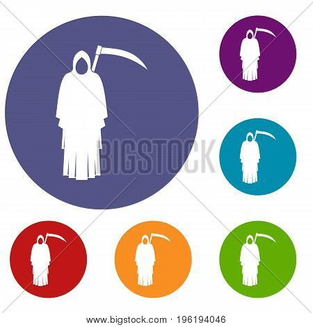 Death with scythe icons set in flat circle red, blue and green color for web