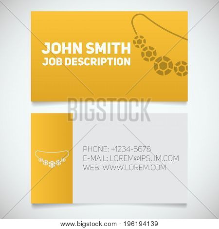 Business card print template with necklace logo. Women's jewelry shop. Stationery design concept. Vector illustration