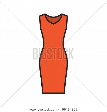 Evening dress color icon. Women's sleeveless gown. Isolated vector illustration