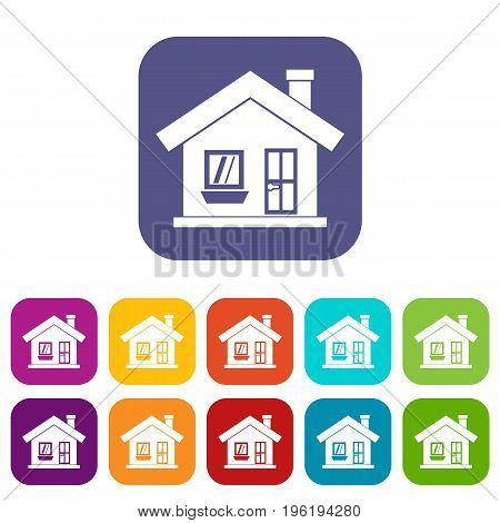 One-storey house with a chimney icons set vector illustration in flat style in colors red, blue, green, and other
