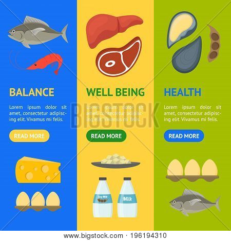 Cartoon Food with Vitamin B12 Banner Vecrtical Set Concept Healthy Nutrition or Diet Flat Design Style. Vector illustration