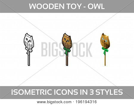 Simple Vector Icon of a owl wood toy in three styles. Basic education element. Preschool. Baby toy