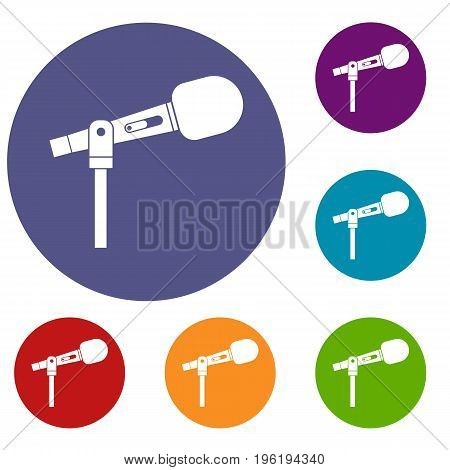 Microphone icons set in flat circle red, blue and green color for web