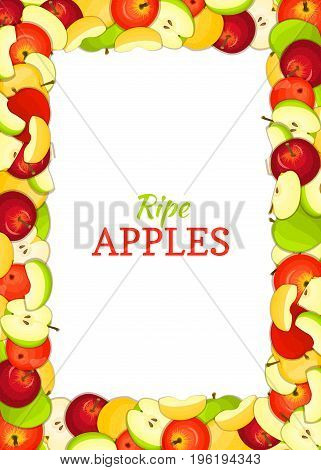 Vertical rectangle colored frame composed of delicious apples fruit. Vector card illustration. Rectangle apple frame for packaging design food, juice, jam, ice cream, smoothies, detox cosmetics cream