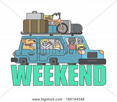 weekend outline style. Car Family go to camping line style. Things to relax. Bicycles and suitcases. Dog from window. Children and parents go in auto. Family holiday