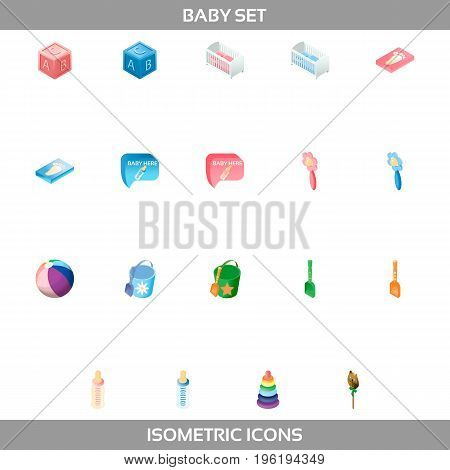 Simple Set of Newborn and Pregnancy Vector Isometric Icons. Contains such Icons as building blocks, rattle, stacking rings, baby bed, footprint, feeding bottle and more.